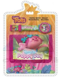 Set reloj digital y billetera de Trolls  (TR17053)