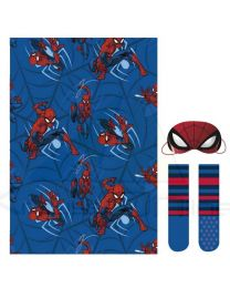 Set regalo manta, calcetines y antifaz de Spiderman  (CD-22-3382)