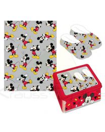 Set regalo manta y zapatillas en caja metálica con ventana de Mickey Mouse  (CD-22-3668)