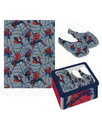 Set regalo manta y zapatillas en caja metálica con ventana de Spiderman  (CD-22-3672)