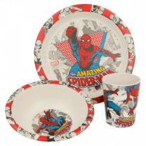 Set Bambu 3 Pcs. (PLATO, Cuenco Y Vaso) Spiderman Comic - Stor 01275