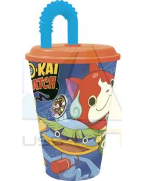 Vaso con tapa y caña 430ml de Yo-Kai Watch  (87230)