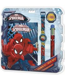 Set reloj digital + boligrafo 6 colores + libreta de Spiderman  (KD-MV92382)